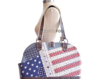 Patriotic, Dog Carrier Bag, Luxury, Pet Carrier, Custom, Travel Bag, Pet Travel, Designer Dog Purse, Americana by Foo Foo Fido