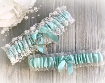 Aqua Wedding Garter - Bridal Garter Set - Something Blue Garter Belt- Teal Wedding Garter set - Bridal Shower Gift - Gift for Her