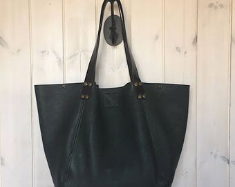 Large Emerald Green Genuine Leather Womens Shoulder Bag