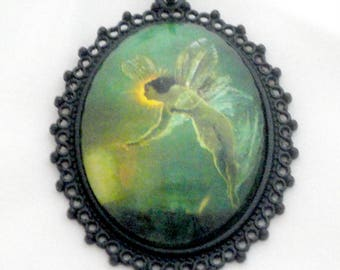 Fairy Necklace - Fairy Jewelry - Cameo Necklace - Faeries - Glass Pendant - Green Fairy Necklace - Fantasy Jewelry - Fairies - Large Cameo
