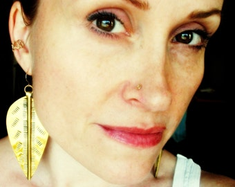 Gold-Raw Brass Leaf-Long-Earrings / Free US Shipping