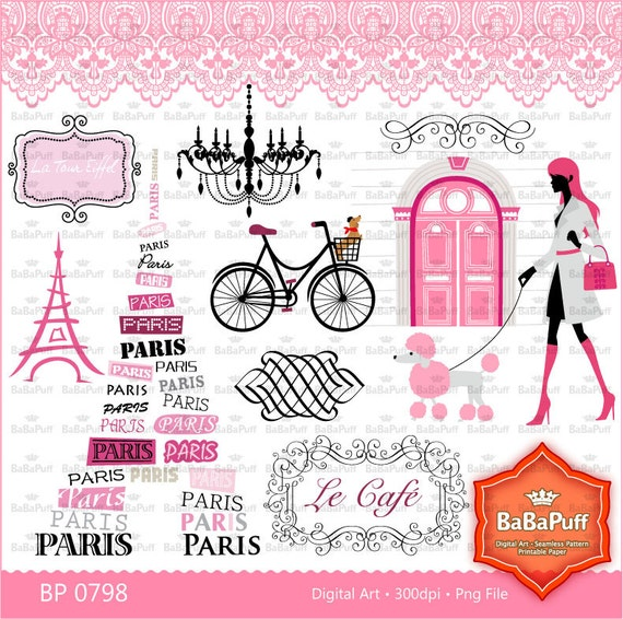 Paris Clip Art Set 2 Eiffel Tower France Landmarks Frame