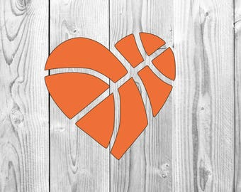 Basketball Shaped heart Decal for yeti, decal for car, laptop decal