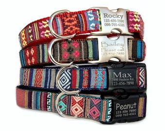 Personalized dog collar Embroidery dog collar Laser engraved  ID tag dog collar Tribal Aztec Navajo Boho Bohemian pet collar boy dog collar