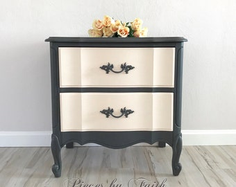 """SOLD - """"Custom Finish Available"""" Two Drawer French Provincial Nightstand"""