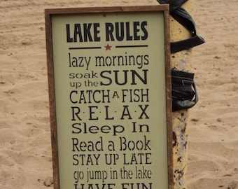 LAKE RULES -handpainted wood sign, Cottage, Lake, Cabin Lakehouse sign decor, Typography/Subway Sign