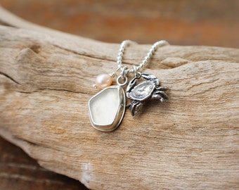 """Sea Glass Charm Necklace, Pearl Crab Charm and White Seaglass Necklace, Sterling Silver Charm Necklace Ball Chain 30"""""""