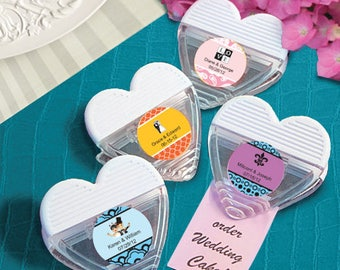 48 Personalized Heart Shaped Memo Clip Favors - Set of 48