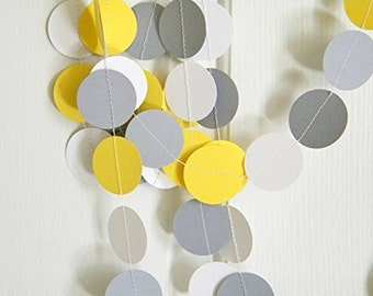 10 Feet Yellow Gray White Circle Paper Garland Wedding Birthday Baby Shower Party Hanging Decorations