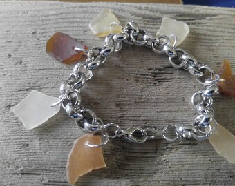 Shades of Brown and Tan Sea Glass Bracelet from Maryland's Eastern Shore