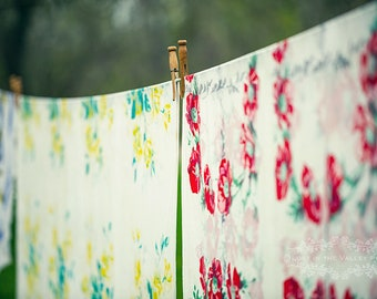 Fresh Linen Photograph, Farmhouse Decor, Rustic Wall Art, Still Life Photography, Clothes Line Photo, Flower Print, Yellow, Green, Red