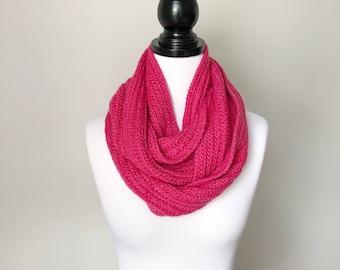 Ready to ship - Handmade Crochet Wool, Alpaca and Silk Circular Infinity Scarf in Pink
