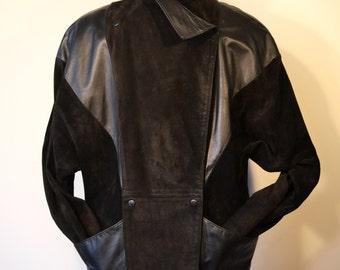 Black Leather Jacket, Coat, Suede Leather Peacoat ,Comint, Large,L geometric coat,Jacket