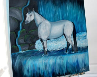 "Horse Oil Painting 24 X 24 inch ""Majestic"" Waterfall Painting ORIGINAL"