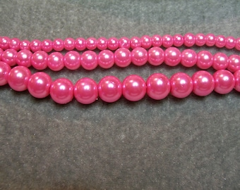 Glass Pearls 3 New Strands 4mm 6mm & 8mm Pink