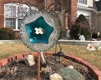 Vintage Upcycled Glass and Porcelain Yard Art