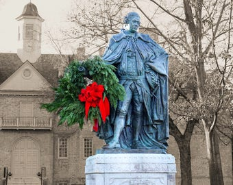LORD BOTETOURT at CHRISTMAS, Sepia Background, William & Mary College, Wreath, Christopher Wren,Williamsburg, Virginia, Photograph