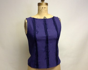 Tattered Deconstructed Seams Out Fitted Sleeveless Shell Top S-M-L