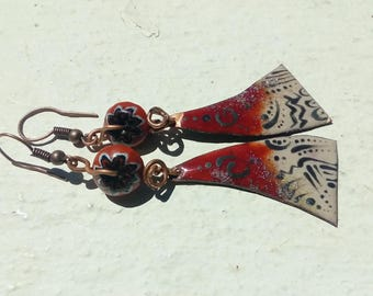 Earrings: Oriental - enameled copper and Lampwork beads