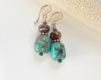 Casual turquoise with chocolate glass accents, on gold filled earwires