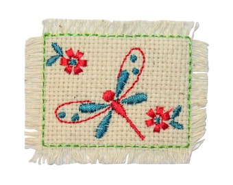 ID 0412C Dragonfly Flower Weave Patch Garden Badge Embroidered Iron On Applique