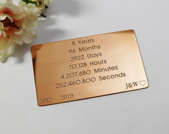 Copper wallet insert 8 year gift for her 8 year anniversary gift for women anniversary gift personalised gift for wife custom engraved