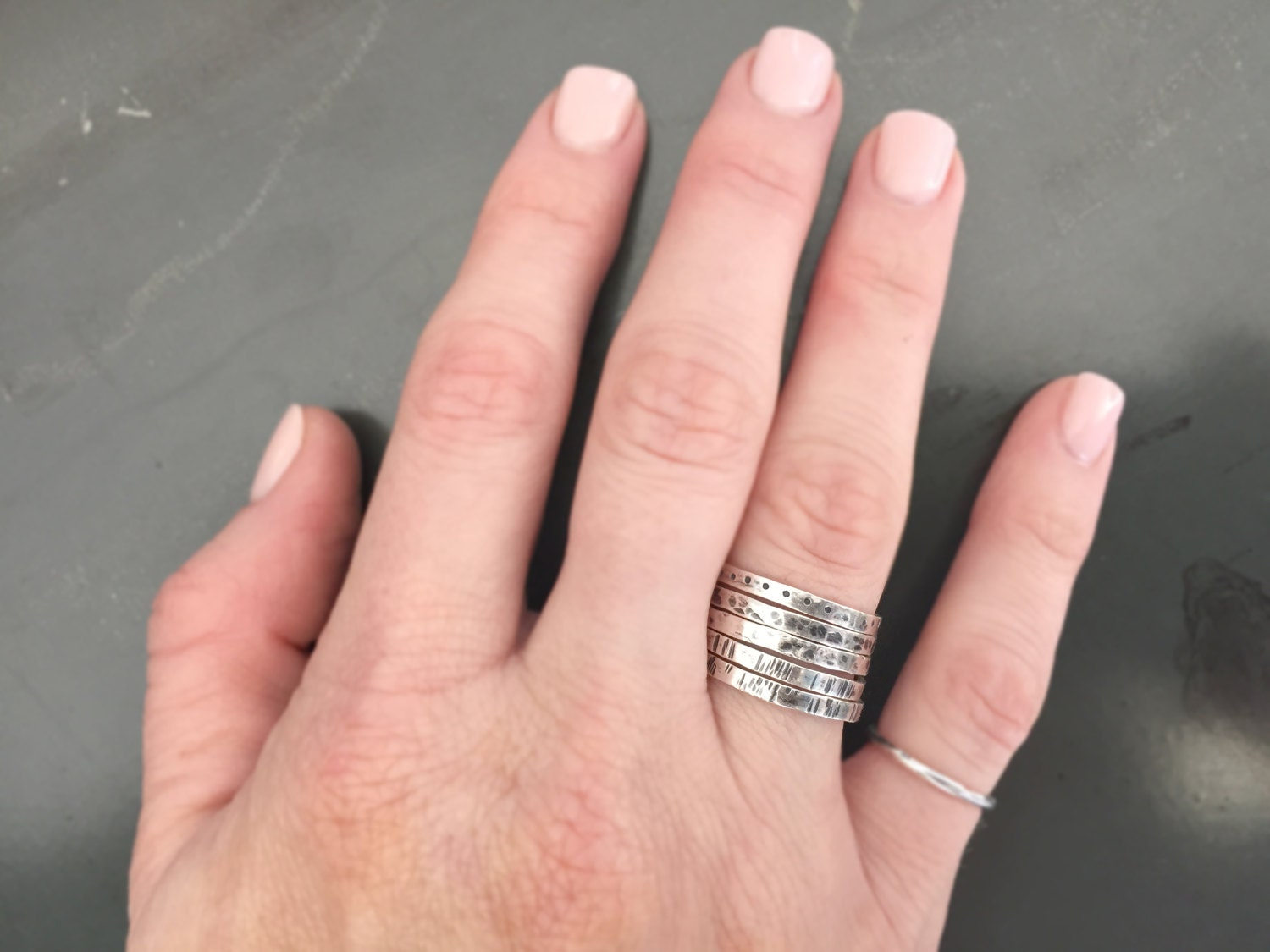 Mother\'s Day gift, Thin textured rings, pure silver rings, sterling ...