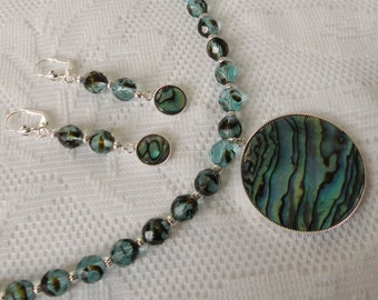 Two-Tone Black/Turquoise Blue Czech Fire-Polished Glass Bead Necklace and Earring Set with Paua Shell Cabochon Pendant