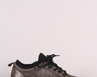 Metallic Textured Lace Up Rigged Sneaker