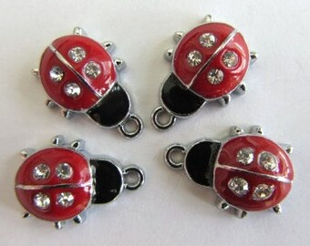 5 pieces LADYBUG Charm Pendant with Rhinestones