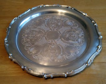 """14"""" Vintage Round Silver Platter Tray marked EALES Silverplate 1779,  Silverplated Tray"""