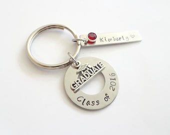 Graduation Gift ~ Class of 2018 High School College Graduation Key Chain Gift for Her ,Personalized Name Hand Stamped Gift for Daughter