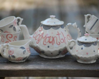 Pink and Gray Tea Party Elegant  Little Girls China Tea Set, Handpainted, Custom, Personalized