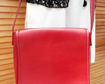 Beautiful red leather messenger cross body bag
