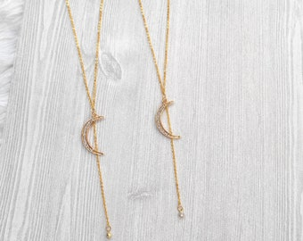 Y Necklace | Lariat Necklace | Crescent Y Necklace | Layering Necklace | Dainty Lariat Necklace | Minimalist Necklace | Gift For Her