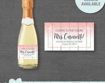 Starfish Peach Bridal Shower Mini Champagne Bottle Label Personalized, Champagne Labels, Favors, Decor, Coral, 54S