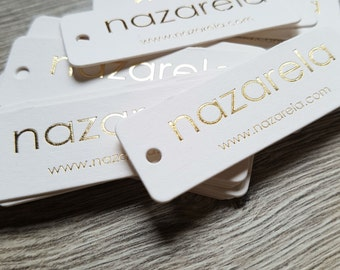 200 Hot foil hang tags; silver, gold, copper, metallic blue hot foil tags; hole punch, rounded corners; hot foil small tags, gift tags