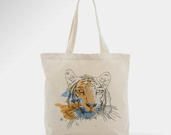Sac en coton tigre, tote bag, sac, accessoire