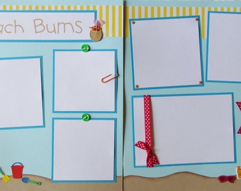Premade 12x12 Scrapbook Pages Layout -- BEACH BUMS -- SuMMeR vacation -- trip to the beach, family fun, sand castle, boy or girl album, baby