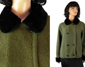 Vintage Sweater Jacket Sz M L Wondra Wool Olive Green Black Faux Fur Cardigan Coat Free Us Shipping
