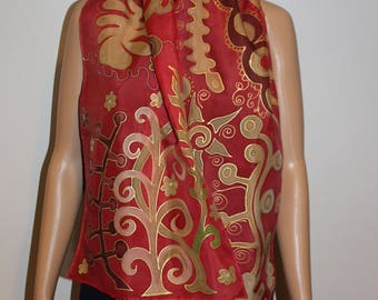 Hand painted red silk scarf,Summer luxury gold red scarf,Evening dress scarf,Long head scarf,Wrap,Gift for her,Batik, Etsy ASAP,Gold leaves