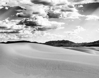 Matted, Black and White Photograph Print of Sand Dunes and Mountains