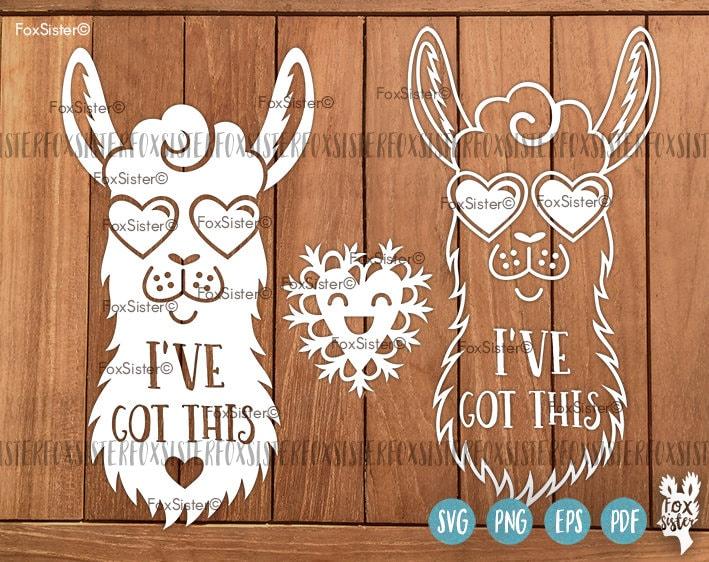 Llama Funny Svg Papercut Template Svg Cut File Heart