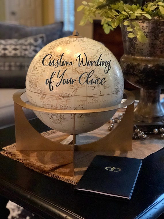 Large White and Gold Globe with Gold Metal Stand  / Choose Custom Calligraphy Wording / Calligraphy Globe / Wedding Guest Book Globe