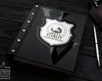 """Personalized Wooden Notebook For Gentleman """"Mr. Ace"""". Author Anna Bobak. Decorated by Aluminium and Acrylic. Engraved Inscription Available"""