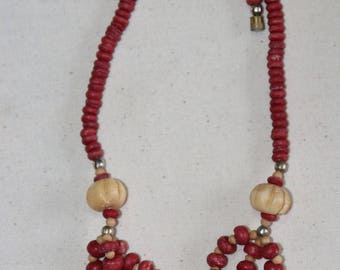 Vintage 80s/90 Ethnic Bone and Red Wood Bead Necklace