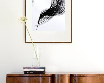 Original abstract fine art drawing on paper, storm, wind, lines art, abstract wall art, wall decor, black and white art by Cristina Ripper