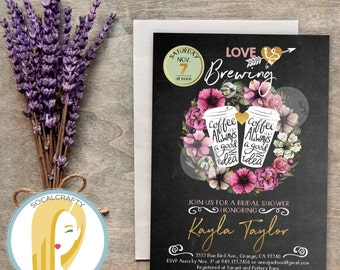 Love Is Brewing Bridal Shower Invitation, Coffee Invite, Wreath, Chalkboard, Gold Leaf, DIY, Printed or Printable Invitations, Free Shipping