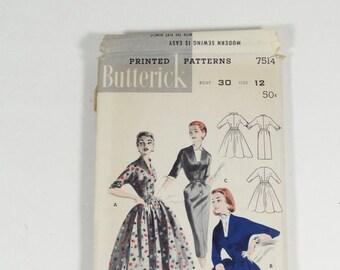 50s Sheath or Full Skirted Dress Pattern - Butterick 7514 - Size 12 - Vintage 1950s Dress Pattern