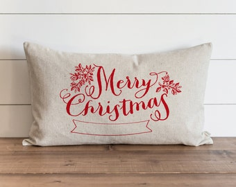 Merry Christmas Banner_Color 16 x 26 Pillow Cover // Christmas  // Holiday  // Throw Pillow // Gift for Her // Accent Pillow